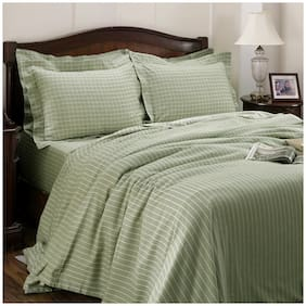 Maspar Cotton Striped King Size Bedsheet 300 TC ( 1 Bedsheet With 2 Pillow Covers , Green )
