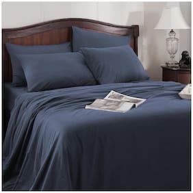 Maspar Cotton Solid King Size Bedsheet 300 TC ( 1 Bedsheet With 2 Pillow Covers , Blue )