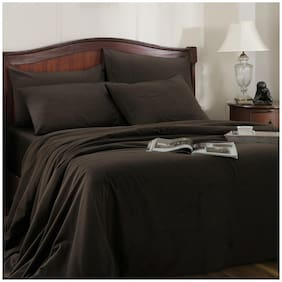 Maspar Cotton Solid King Size Bedsheet 300 TC ( 1 Bedsheet With 2 Pillow Covers , Brown )