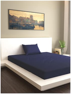 MARKHOME Cotton Solid Single Size Bedsheet 200 TC ( 1 Bedsheet With 1 Pillow Covers , Blue )