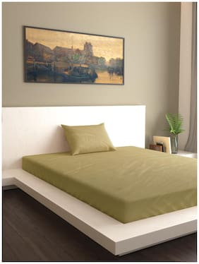 MARKHOME Cotton Solid Single Size Bedsheet 200 TC ( 1 Bedsheet With 1 Pillow Covers , Beige )