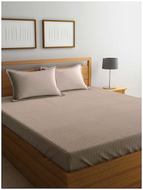 MARKHOME Cotton Striped King Size Bedsheet 210 TC ( 1 Bedsheet With 2 Pillow Covers , Beige )