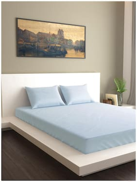 MARKHOME Cotton Solid Queen Size Bedsheet 200 TC ( 1 Bedsheet With 2 Pillow Covers , Blue )