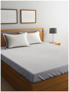 MARKHOME Cotton Striped King Size Bedsheet 210 TC ( 1 Bedsheet With 2 Pillow Covers , Ivory )