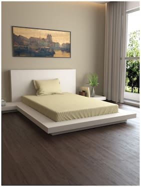 MARKHOME Cotton Striped Single Size Bedsheet 400 TC ( 1 Bedsheet With 1 Pillow Covers , Beige )