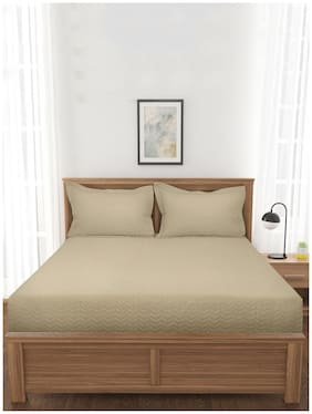 Mark Home Quilted Bed Cover Khaki Made From 100% Organic Cotton Sateen Fabric 400 Tc With 150 Gsm Wading Between The Fabric