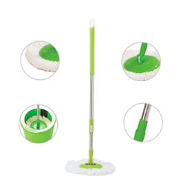 Marketon 360 Spin Floor Cleaning Easy Rotating Stainless Steel Pole with 1 Microfiber Refill Head (Assorted Color) Set of 1