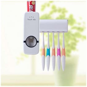Marketon Automatic Toothpaste Dispenser and Tooth Brush Holder Set (Pack of 1) White