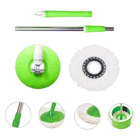 Marketwala 360 Degree Expandable Stainless Steel Stick Rod with 1 Mop Refill (Set of 1) Assorted Color