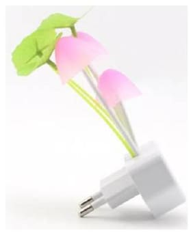 Marketwala Automatic Colour Changing Mushroom Plant Shape LED Night Light Plug Lamp with Smart Sensor Auto on-off (White) Pack of 1