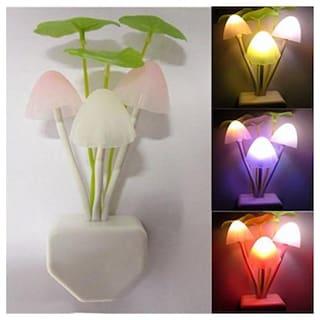 Marketwala  LED Night Light Lamp | Mushroom Plant Shape With Smart Sensor Decorate For Bedroom Night Lamp  (Pack of 1) White