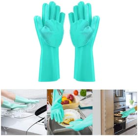 Marketwala Silicone Scrubbing Gloves Non-Slip Dishwashing and Pet Grooming Magic Gloves for Cleaning (1 Pair) Assorted Color