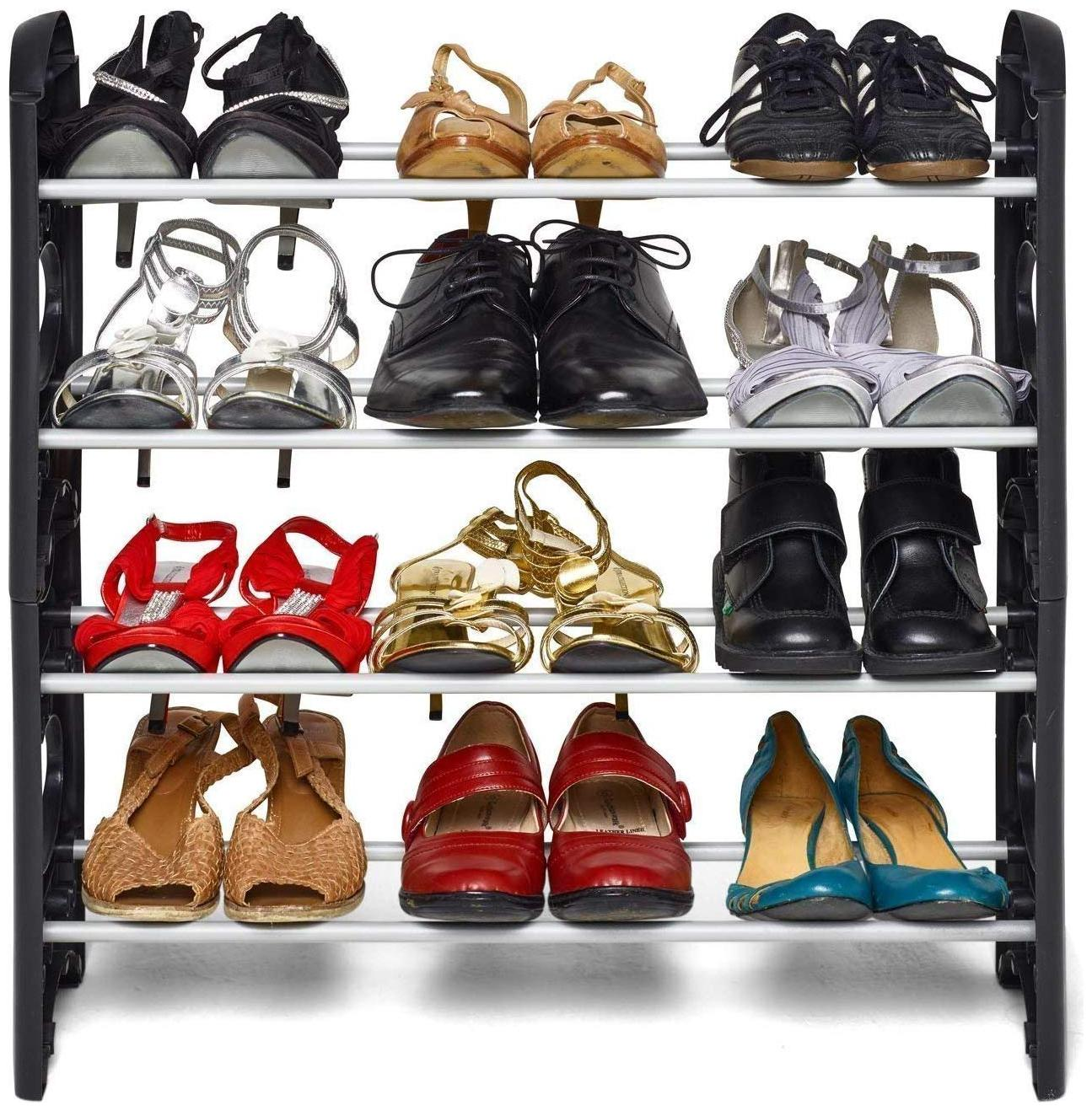 MARKETWALA  SHOE RACK HOME/KITCHEN STORAGE PLASTIC COLLAPSIBLE SHOE STAND 4 SHELVES  PACK OF 1 , BLACK