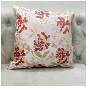 Good Vibes Embroidered Jacquard Square Shape Red Cushion Cover ( Regular , Pack of 3 )