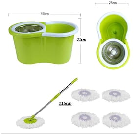Mart and New Life 100% 360 Degree Rotation Easy Life Easy Mop With 5 Micro Fiber Refill ( Color May Very )