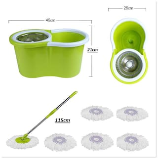 Mart and New Life 100% 360 Degree Rotation Easy Life Easy Mop With 6 Micro Fiber Refill ( Color May Very )
