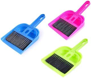 Martand Multipurpose Mini Dustpan Supdi with Brush Broom Set (Assorted Colour)-  Pack Of 3PCs Mini Dustpan