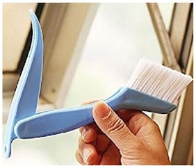 Martand Multifunctional Foldable Plastic Window Frame Cleaning Brush with Dust Dirt Scraper