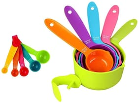 Martand Plastic Measuring MultiColor Cup And Spoon- Set Of 10Pcs (5 PiecesCup/ 5 Pieces Spoon)