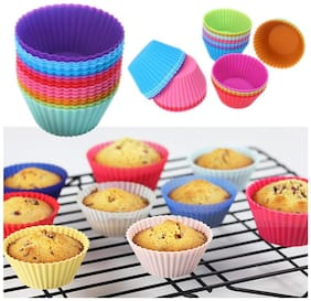 Martand Reusable Silicone Baking Cup Muffins Mould , Chocolate Mould, Cup Cake Mould For Cup Cake - 6 Pieces Round Shape Mould