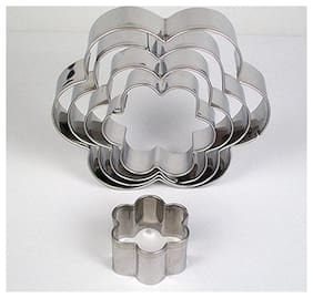 Martand Stainless Steel Flower Shape Cookies Cutter- Pack Of 5Pcs