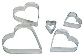 Martand Stainless Steel Heart Shape Cookies Cutter- Pack Of 5Pcs