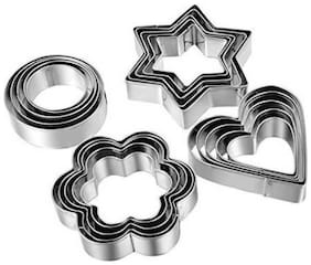 Martand Stainless Steel Cookies Cutter With 4 Shape ( 5 Different Shape) 20 Pieces