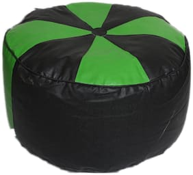 Maruti fun bags Bean Bag cover Round Puffy/Floor Puffy Standard Black:Green Colour Without Beans