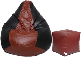 Maruti fun bags XXXL Bean Bag Combo with Puffy Classic With Beans- brown and Black