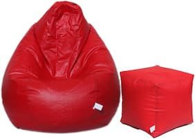 Maruti fun Bags Bean Bag Combo with Puffy XL With Beans- Red