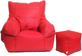 Maruti Fun Bags Combo with Puffy Arm Chair XXL With Beans- Red