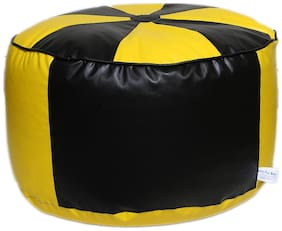 Maruti fun bags Bean Bag cover Round Puffy/Floor Puffy Standard Yellow:Black Colour Without Beans