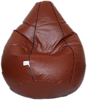 Maruti Fun Bags Strip Bean Bag Filled With Beans Brown-XL