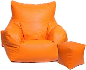 Maruti Fun Bags Combo with Puffy Arm Chair XXL With Beans- Orange