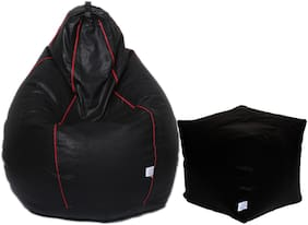 Maruti fun bags XL Bean Bag Combo with Puffy With Beans Striped- Black and Red