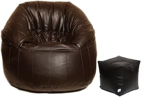 Maruti Fun Bags Leather Bean Bag Combo with Puffy With Beans (XXXL)- Brown