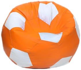 Maruti fun bags Bean Bag cover Football Standard Orange:White Colour Without Beans