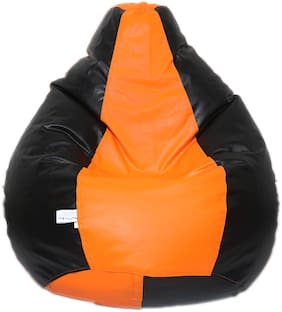 Maruti Fun Bags Bean Bag Filled With Beans Orange Black-XL