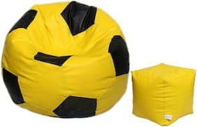 Maruti Fun Bags Combo with Puffy Cover XL Without Beans Leather Football Shape