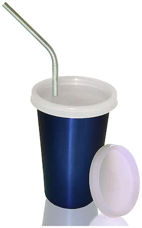 Marwall Falcon Stainless Steel Glass with Straw and Extra Travel Lid, 300ml,Blue