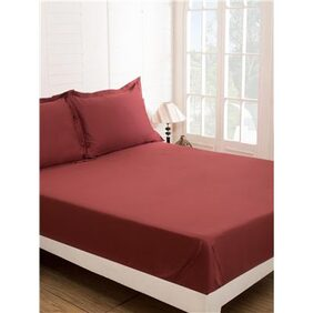 Maspar Red Double Bed Sheet with 2 Pillow Covers (3 Pc)