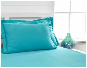 Maspar Blue Single Bed Sheet With 1 Pillow Cover  (2 Pc)