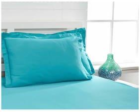 Maspar Blue Single Bed Sheet With 1 Pillow Cover  (2 Pc)