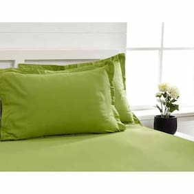 Maspar Cotton Solid Double Size Bedsheet 300 TC ( 1 Bedsheet With 2 Pillow Covers , Green )
