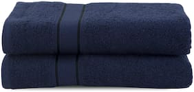 Maspar 500 GSM Cotton Blue Large Bath Towel (Pack of 2)