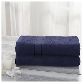 Maspar 500 GSM Cotton Bath towel ( 2 pieces , Blue )