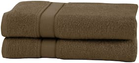 Maspar 500 GSM Cotton Brown Large Bath Towel (Pack of 2)