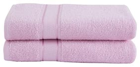 Maspar 550 GSM Cotton Bath towel ( 2 pieces , Pink )