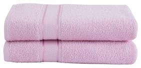 Maspar Eddie 500 GSM Cotton Pink Large Bath Towel Set (Pack Of 2)