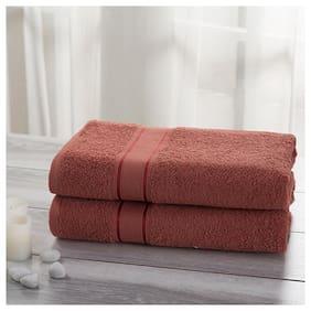 Maspar Eddie 500 GSM Cotton Peach Large Bath Towel Set (Pack Of 2)